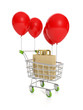 3d illustration: Concept for sale and purchase. Trolley balloon