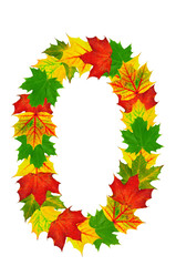 Autumn maple Leaves in the shape of number 0