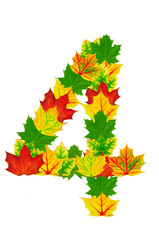 Autumn maple Leaves in the shape of number 4
