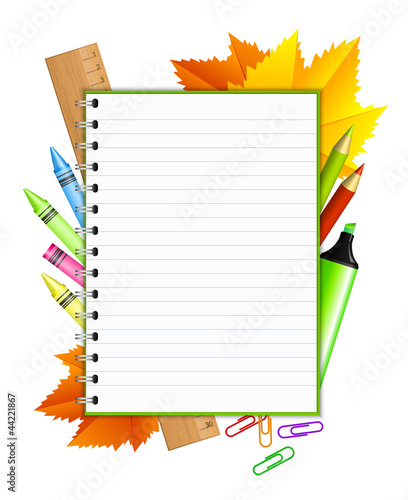 """Back to school "" - vector frame with stationery"