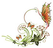 Ranke, flora, Blume, Blüte, Schmetterling, grün, rot