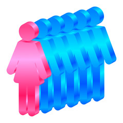 Vector icon of woman leads men