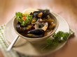 mussel and clam soup, selective focus