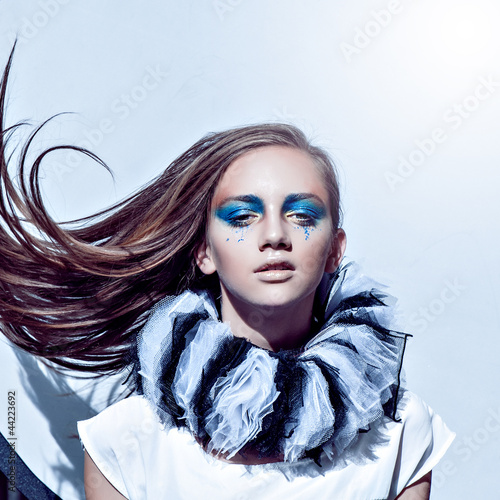 beautiful girl face art close-up portrait whith flying hairs - 44223692