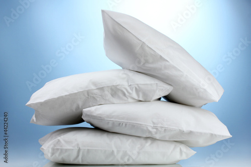 pillows, on blue background