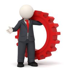3d business man holding a red gear