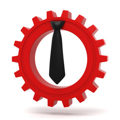 Black tie - red gear business concept icon