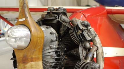 Aircraft rotary engine. Camera move.