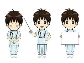 様々なポーズの男性看護師