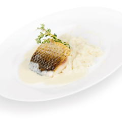perch fillet with creamy risotto