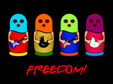 Matryoshkas band with colorful balaklava sing for freedom