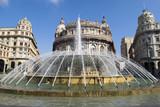 Fountain in De Ferrari square in Genoa, Italy