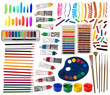Brushes, paint, pencils and other artistic equipment