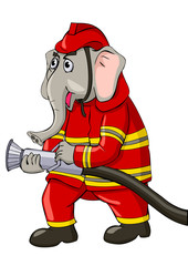 Cartoon illustration of an elephant as a firefighter
