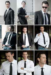Collage of confident young business man portrait outdoor.