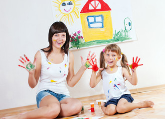 Woman and child paint colors
