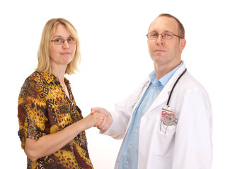 Medical doctor and patient handshaking