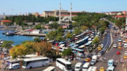 miniature effect bus station time lapse