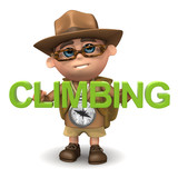 "3d Adventurer with the word ""Climbing"""