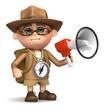 3d Adventurer with megaphone