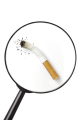 stubbed out cigarette viewed through magnifying glass