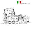 vector illustration of Roman Colosseum against white background