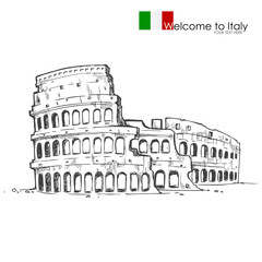 vector illustration of Roman Colosseum against white background
