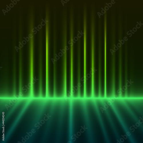 Abstract green colored aurora borealis lights