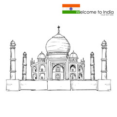 vector illustration of Taj Mahal of India