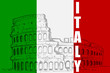 vector illustration of Roman Colosseum on Italy flag