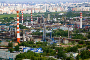 Aerial view fo industrial area and sleeping quarters of Moscow