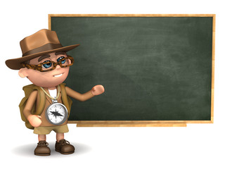 3d Adventurer in front of the blackboard