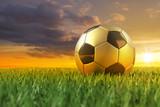 Fussball gold schwarz 3D auf Rasen im Sonnenuntergang-