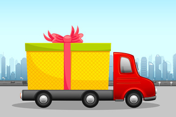 vector illustration of gift box in carrier showing free shipping