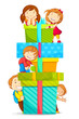 vector illustration of kids climbing pile of gift boxes