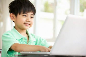 Young Chinese Boy Sitting At Desk Using Laptop At Home