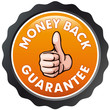 orange vector  seal money back guarantee