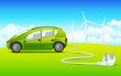 vector illustration of car connected with windmill