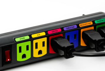 Colorful power outlet strip