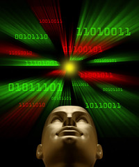Artifical intelligence as symbolized by binary code flying towar