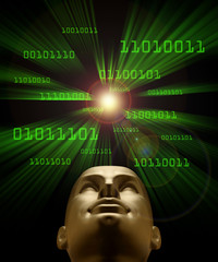 Artifical intelligence as symbolized by green binary code flying