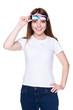 girl in white t-shirt holding 3d glasses