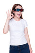 woman in 3d glasses showing ok sign