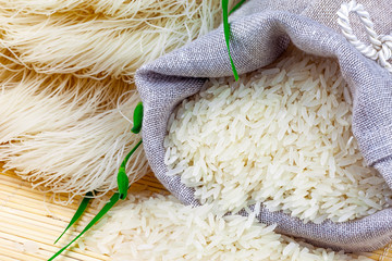 Sack of white rice and rice vermicelli