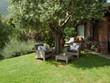 Garden sofa under the olive tree in mediterranean garden