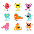 set of cute little monsters - 44244418