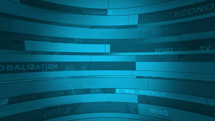 Abstract cylindrical background for News with different words