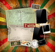 Vintage scrapbook composition with old style elements