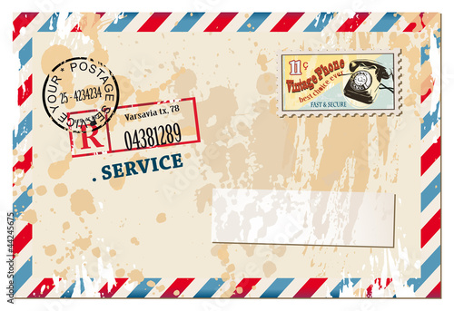 Vintage postcard with old style distressed design