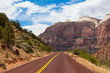 Road through Zion national park in Utah